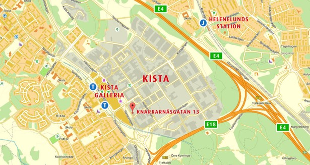 Knarrarnäsgatan 13 ligger strax intill Kista Galleria