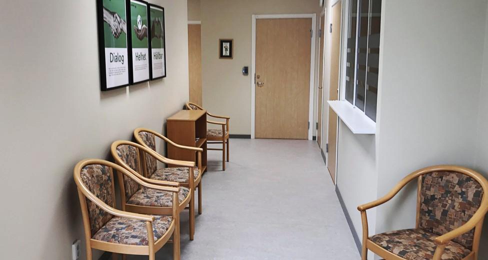 Väntrum med reception