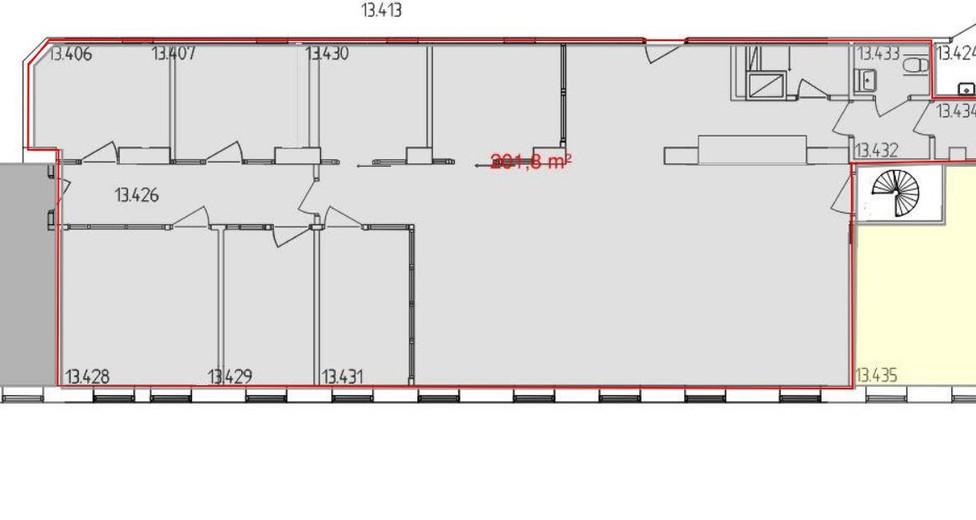 Planritning kontorslokal vån 4