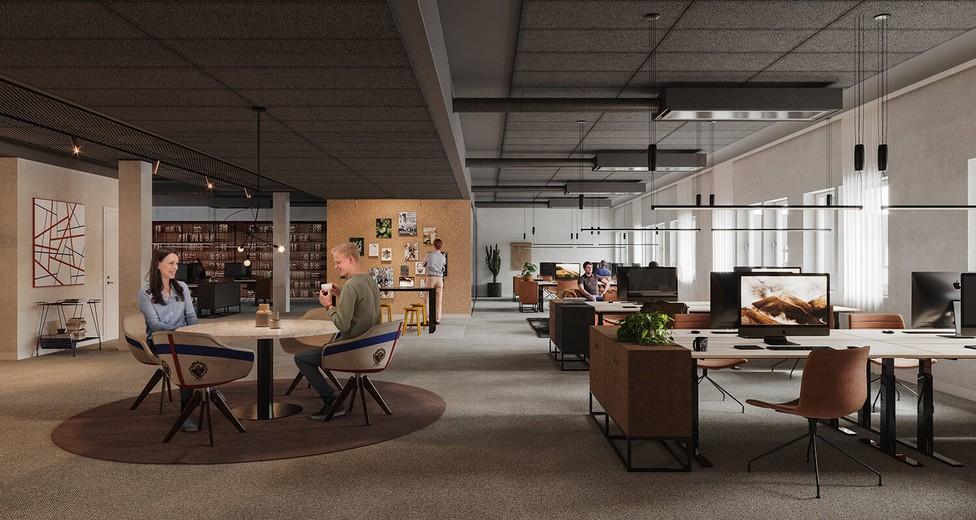 Öppna kontor med fasta och flexibla arbetsplatser