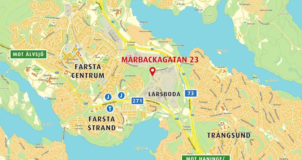 Mårbackagatan 23 i Larsboda har ett mycket gynnsamt kommunikationsmässigt läge