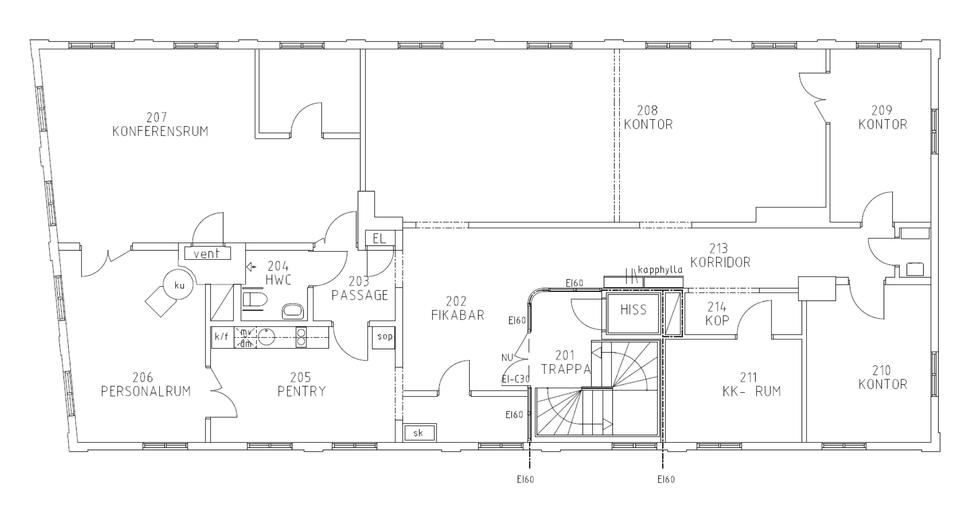 Planlösning Hagdalska huset
