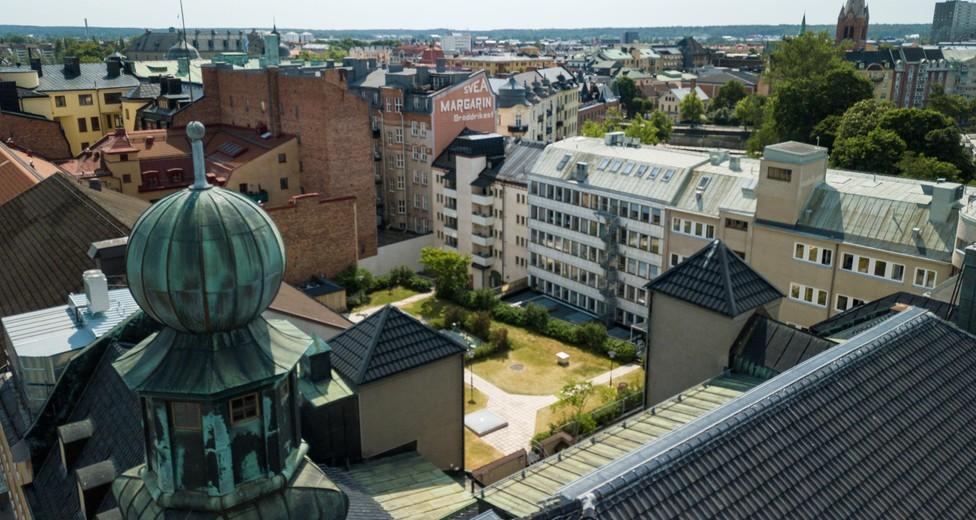 Flygbild över terrassen